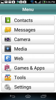 Pantech Discover Phone screen shot menu