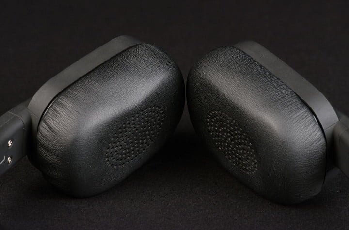 paradigm h  review on ear headphones synthetic leather cups macro