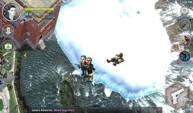 parallel zombies screenshot waterfall android location based game google