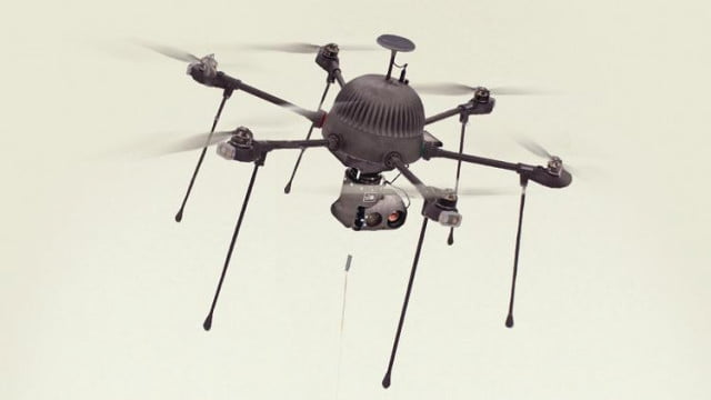 Thanks to an ultralight power tether, this surveillance drone can stay aloft forever  Parcdrone-640x0