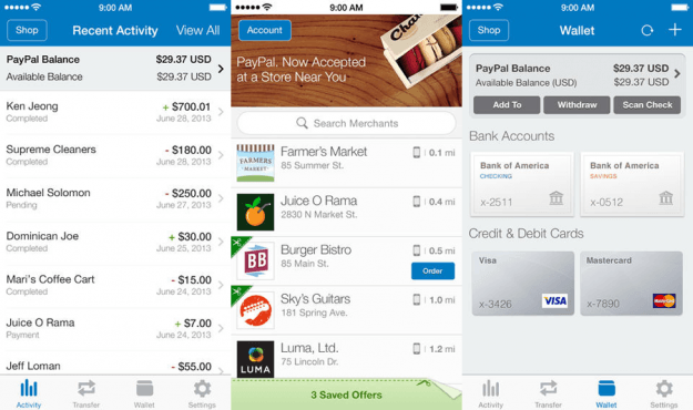 PayPal App Screens