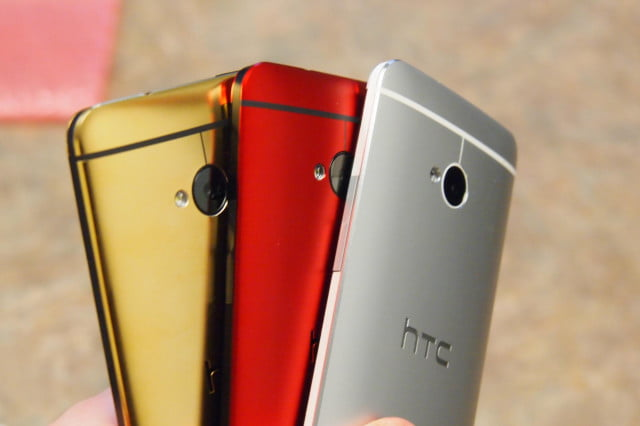 Here's the gold, red, and classic HTC One from an angle.