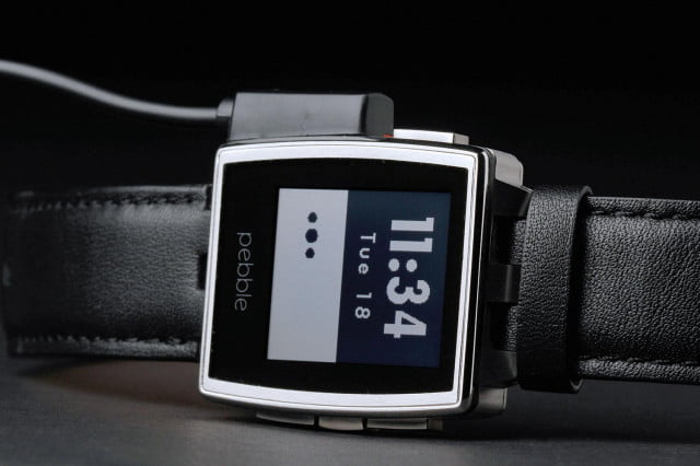 Pebble Steel Watch front connected