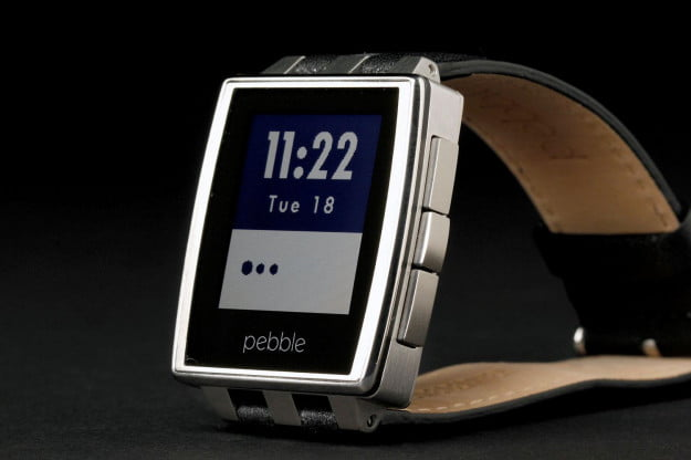 Pebble Steel Watch front left angle