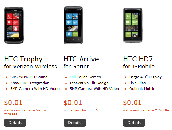 penny WP7 phones