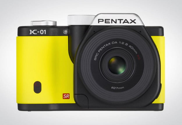 Pentax K 01 review front body yellow mirrorless camera