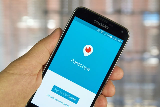 twitter live button periscope application on a cell phone