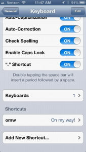 iPhone 5 keyboard shortcuts