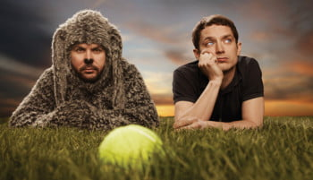 "Jason Gann and Elijah Wood, stars of ""Wilfred."" (Image via FX Networks)"