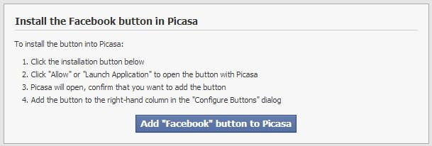 picasa uploader for facebook install