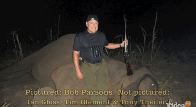 GoDaddy CEO Bob Parsons poses with dead elephant