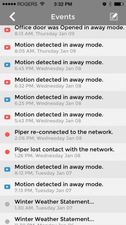 piper home security system review screenshot events