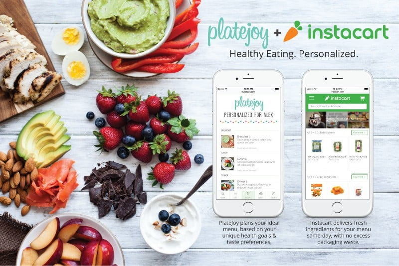 Personalized nutrition service PlateJoy and online grocer Instacart are teaming up to offer same-day delivery of groceries tailored to your health and taste preferences. (PRNewsFoto/PlateJoy, Inc.)