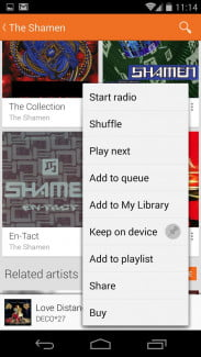 In addition to the Keep on Device option, Shuffle and Play Next buttons have been added.