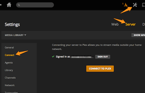 Plex connection settings
