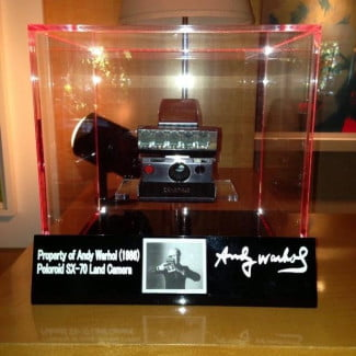 A Polaroid SX-70, once owned by Andy Warhol, on display at the Revolver Gallery.
