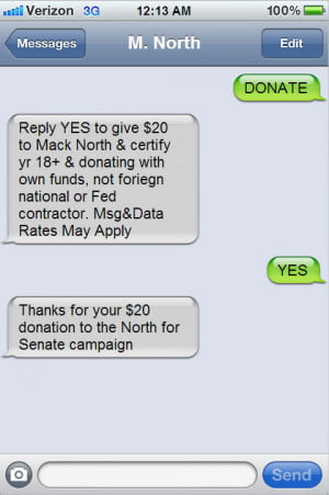 political donation text