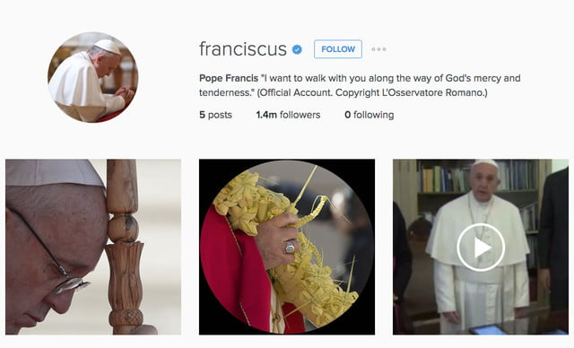 pope instagram one million