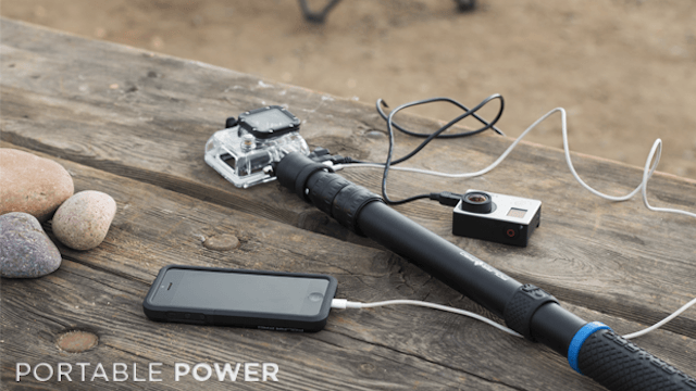 powerpole isnt ordinary gopro stick features battery power action cam