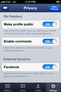 pandora private profile