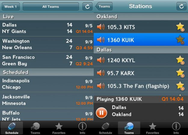 pro football radio screenshot football app