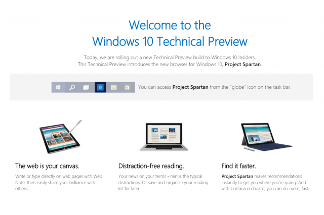 project spartan now available in the windows  technical preview projectspartan