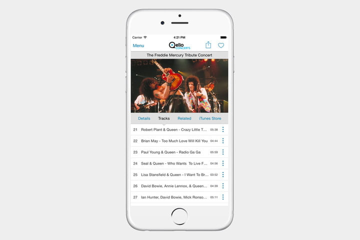 Quello Concerts App Screen
