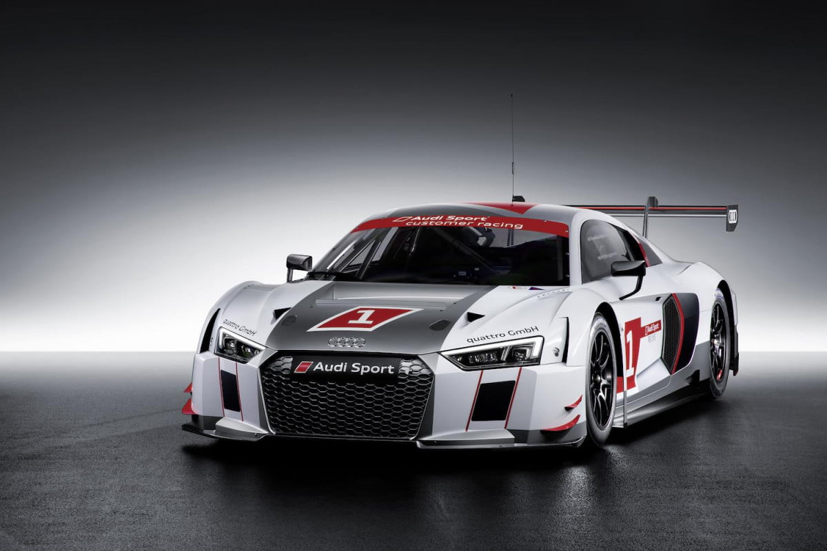 audi reveals is new r  lms race car at the geneva auto show