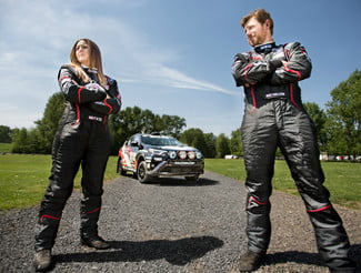 Ryan Millen and Christina Fate with their Toyota RAV4 at the Oregon Trail rally