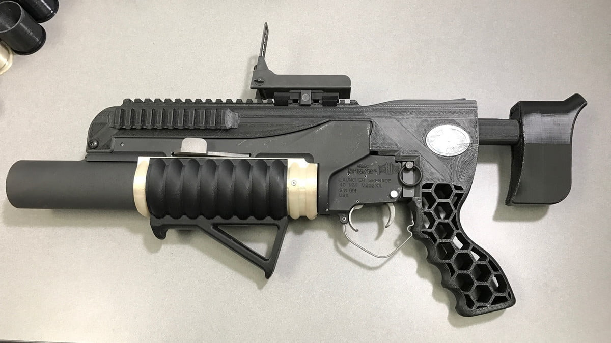 army  d printed grenade launcher rambo