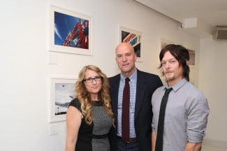 Norman Reebus (right) with photographers Robin Riley (left) and Aaron Warkov (center) at the New York City exhibit.