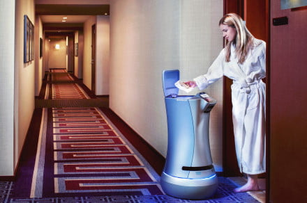 This room-service robot is a