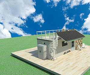 The award-winning rEvolve tiny home has a roof deck, solar, room for your dog