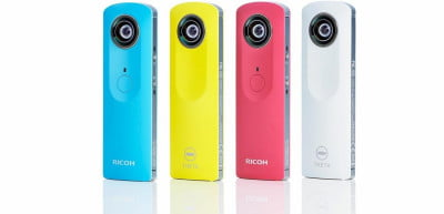 Ricoh's new version of the Theta not only shoots 3-minute 360-degree panoramic videos, but comes in four colors.