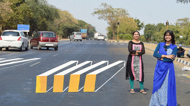 optical illusion speed bumps ahmedabad india roadblocks are getting drivers to slow down in