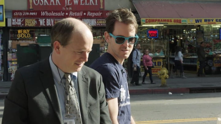 J.D. Walsh acts as a cop with a willing participant in L.A. who played Walsh's partner for the Run & Gun trailer.