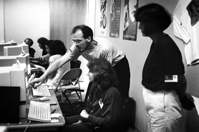 Russell Brown, Adobe creative director, and attendees of Adobe's 1990 Photoshop Invitational.