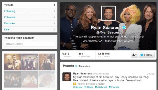 ryan seacrest twitter updated page