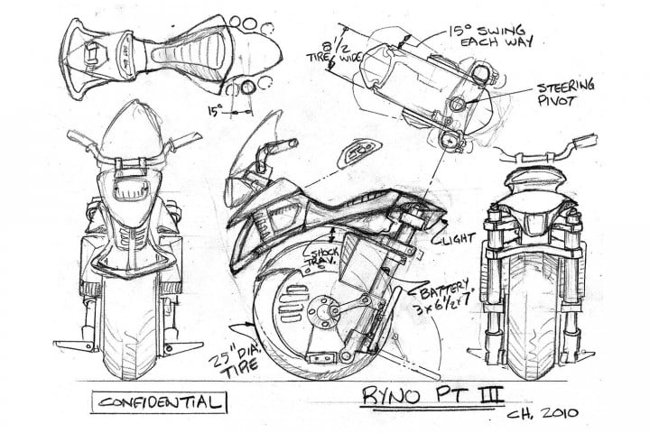 test riding the ryno self balancing one wheeled electric motorcycle motors pt iii sketch
