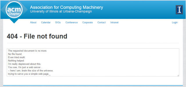 Association for Computing Machinery 404 page
