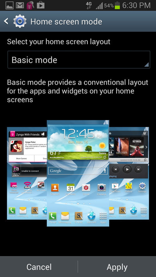 samsung galaxy note 2 software android home screen mode