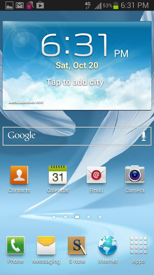 samsung galaxy note 2 software android home