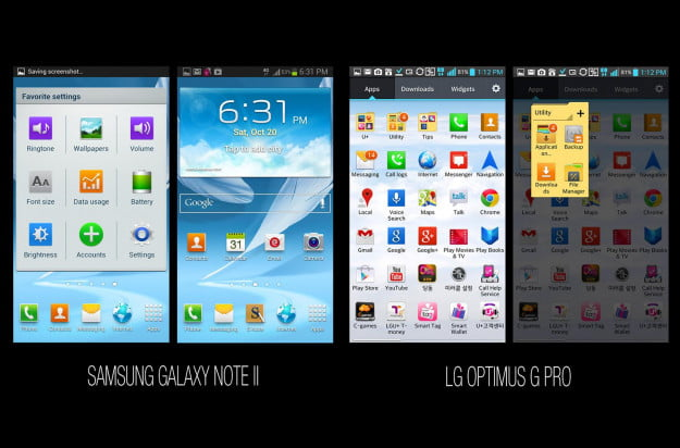 Samsung Galaxy Note II vs LG Optimus G Pro Android and Interface