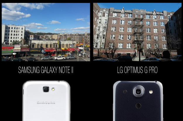 Samsung Galaxy Note II vs LG Optimus G Pro Cameras