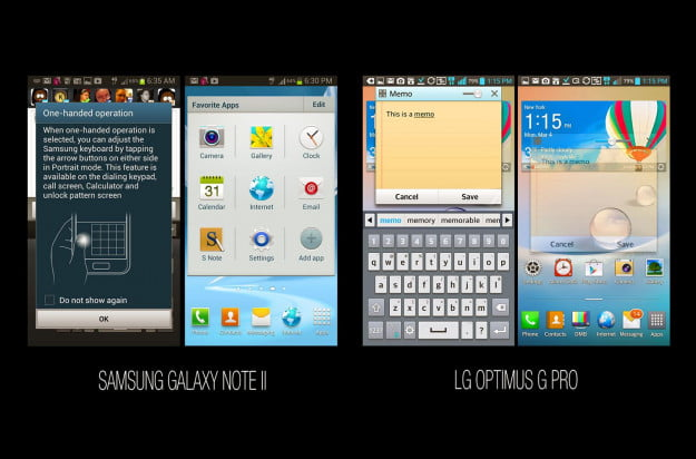 Samsung Galaxy Note II vs LG Optimus G Pro Taking Notes