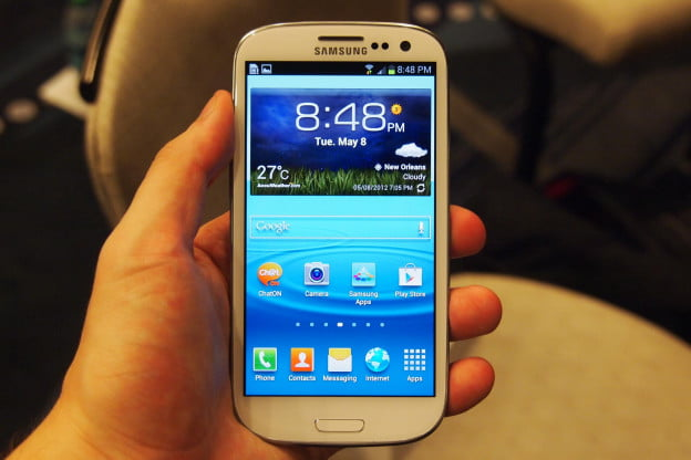 The homescreen of the Samsung Galaxy S3