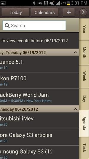 Samsung Galaxy S3 review screenshot calendar apple samsung