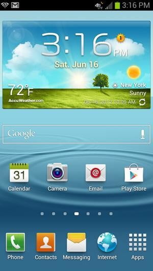 Samsung Galaxy S3 review screenshot homscreen