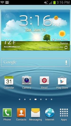 Samsung Galaxy S3 review screenshot homscreen android 4.0 ice cream interface