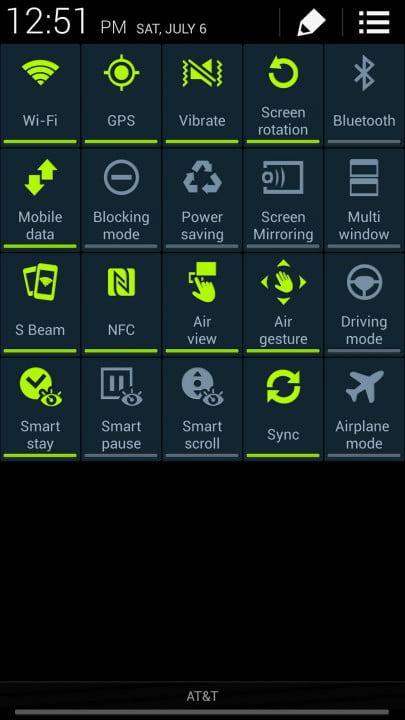 samsung galaxy s  active review screenshot control center